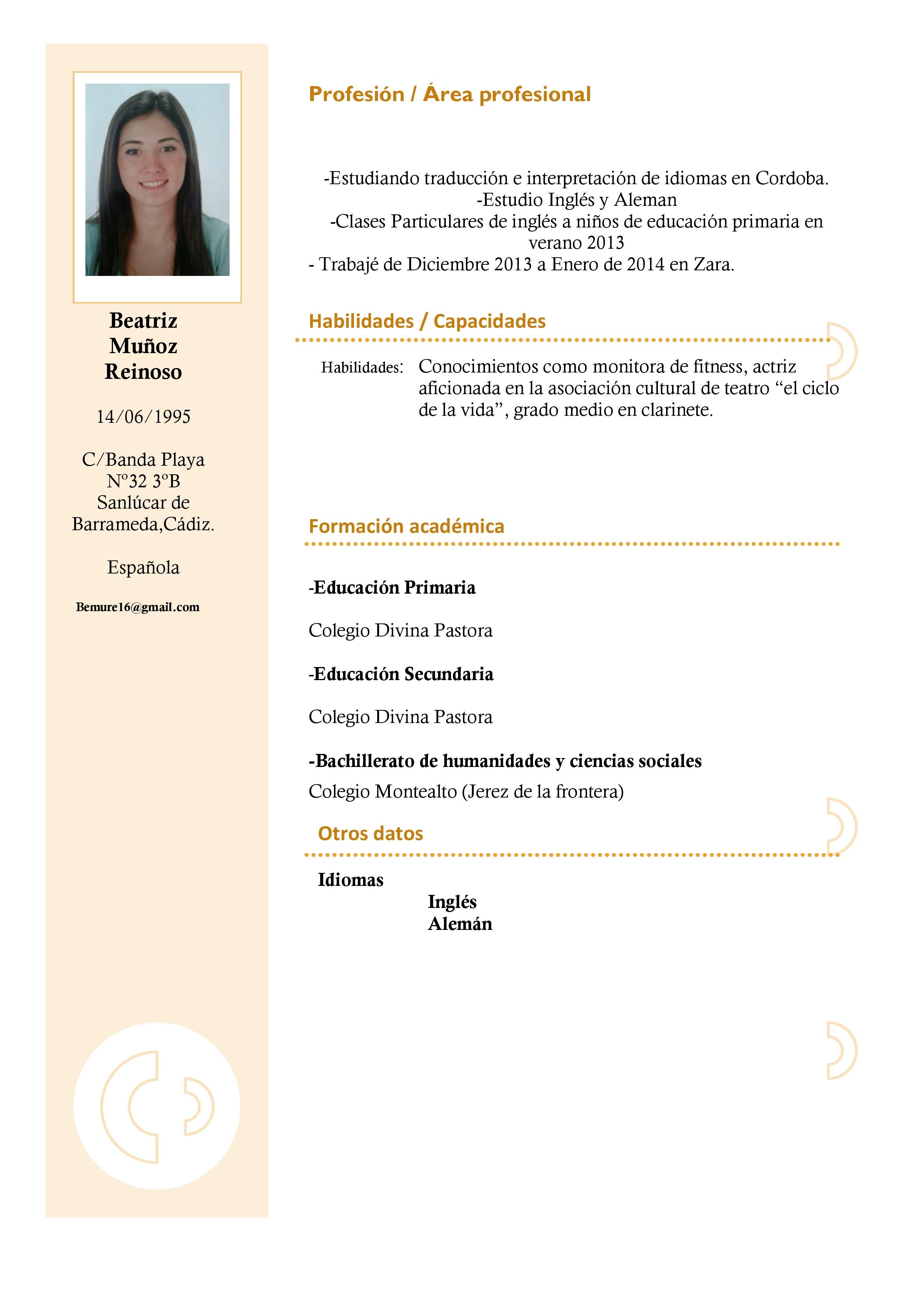 Curriculum Vitae Joven Modelo De Curriculum Vitae