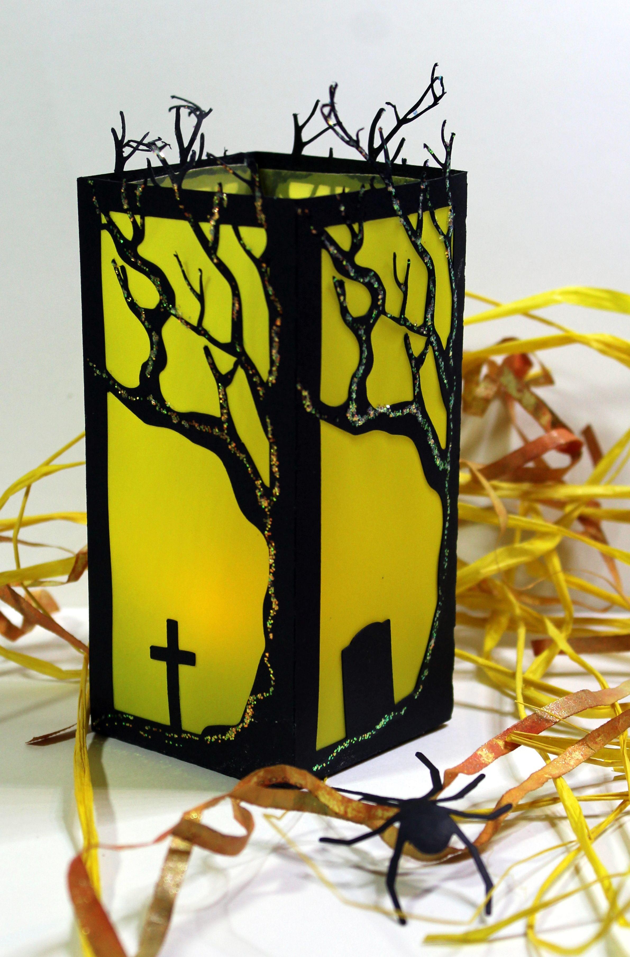 Cemetery Halloween Lantern created on the Silhouette Cameo