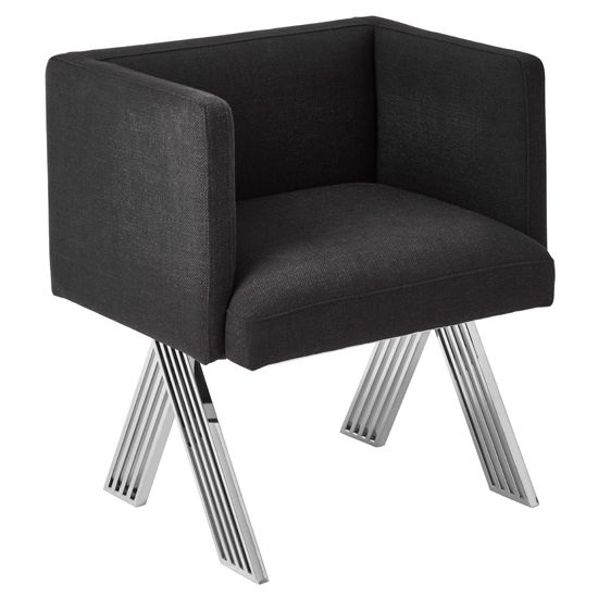 Milan Eames Style Dark Grey Fabric Dining Chair With Black Metal