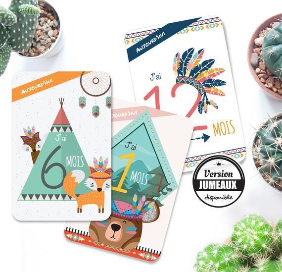 Carte étape bébé – Cartes étapes bébé – premiére année – 1 à 12 mois – thème indien – renard – tipi- Cadeau Naissance
