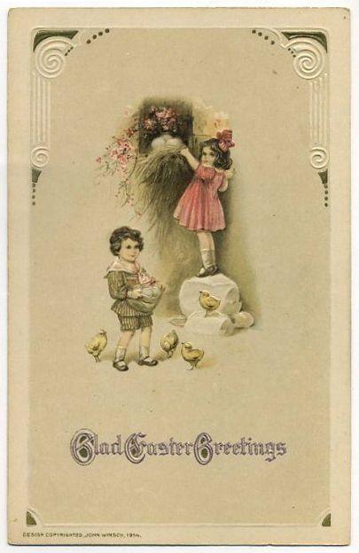 Post Card Children Gathering Eggs On Easter