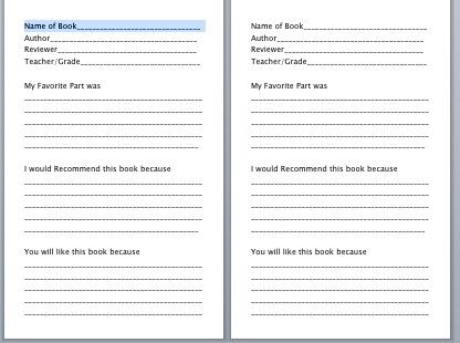 Book Review Form For Kids From The Pto Today File Exchange