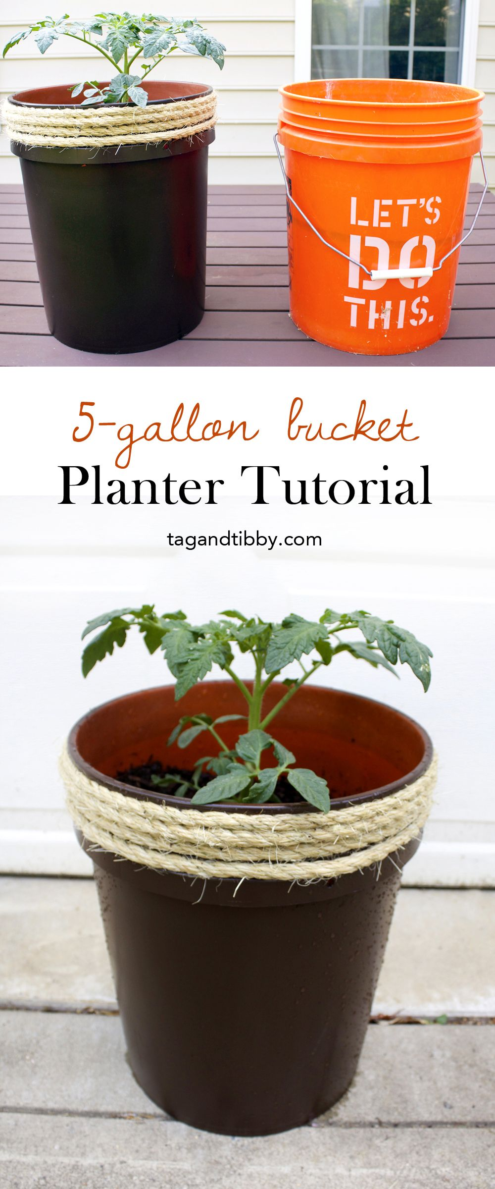 How To Make A Planter From A 5 Gallon Bucket Tag Tibby Design Bucket Planters Bucket Gardening Planters