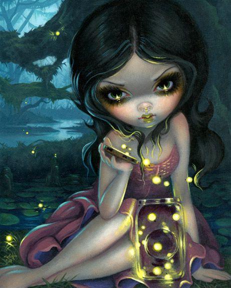 """Releasing Fireflies"" Original 8x10 acrylic painting $2400 SOLD - prints available worldwide now from $9.99 http://www.strangeling.com/shop/fine-art-prints/releasing-fireflies/ #strangeling #jasminebecketgriffith #insectariun #lightningbugs #firefly #fire"