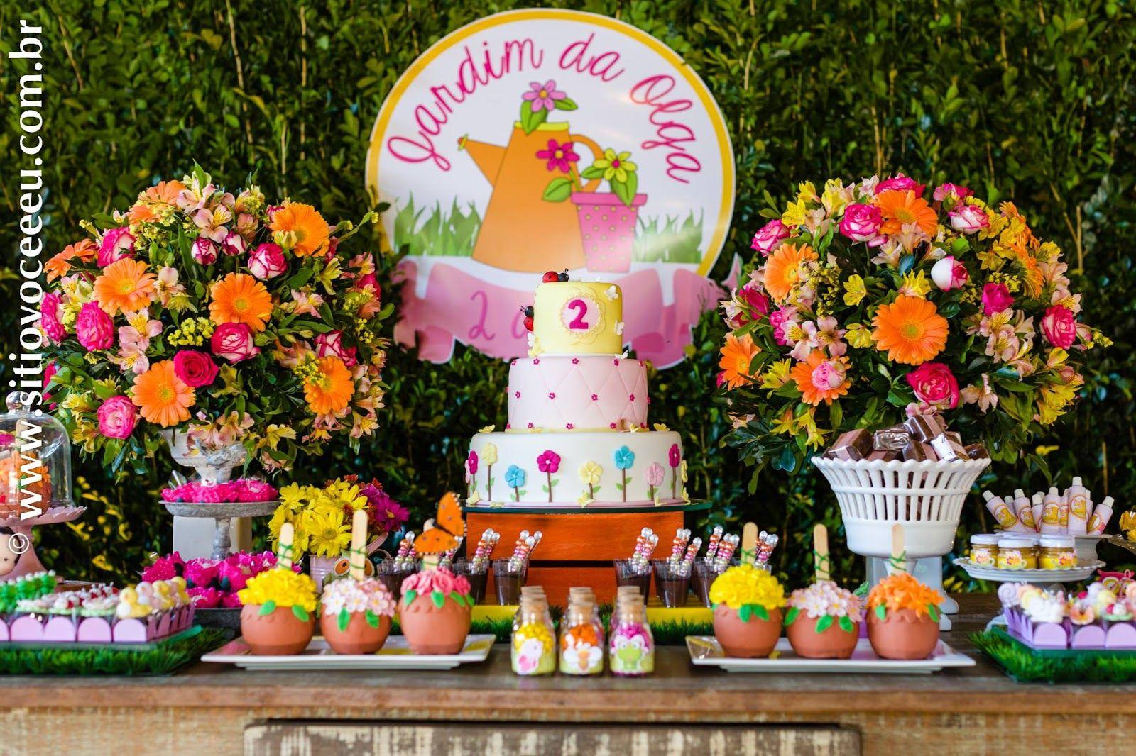 Encontrando Ideias Festa Jardim!! Decoraç u00e3o Festa tema jardim, Festas infantis jardim e  # Decoração De Festa Infantil Jardim Encantado Rustico