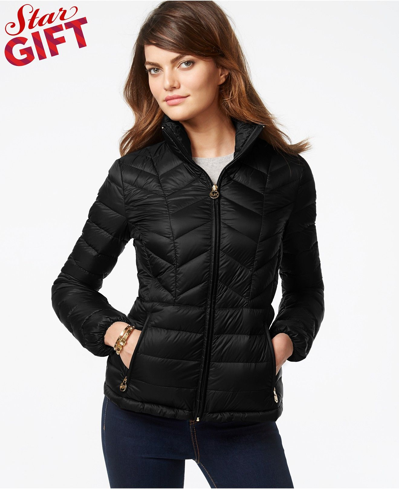fe84742bb MICHAEL Michael Kors Chevron-Quilted Packable Down Jacket - Coats ...