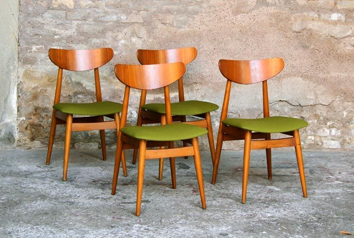 4 belles chaises vintage scandinave en hêtre massif et teck