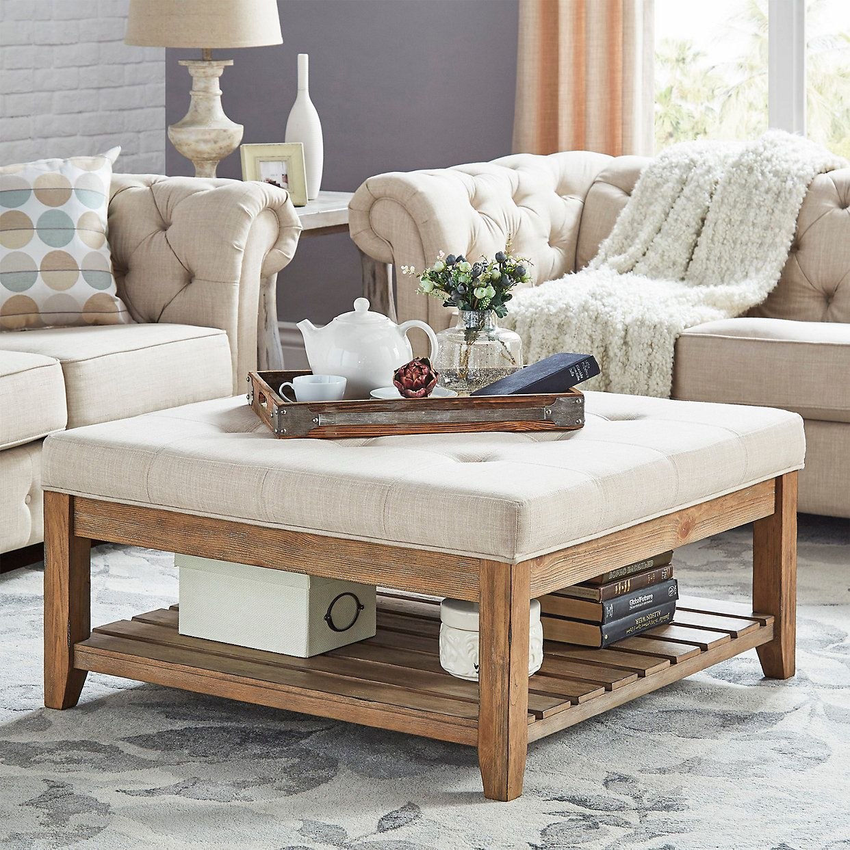 Homevance Contemporary Tufted Upholstered Coffee Table Kohls Upholstered Coffee Tables Coffee Table Living Room Decor Rustic [ 1242 x 1242 Pixel ]