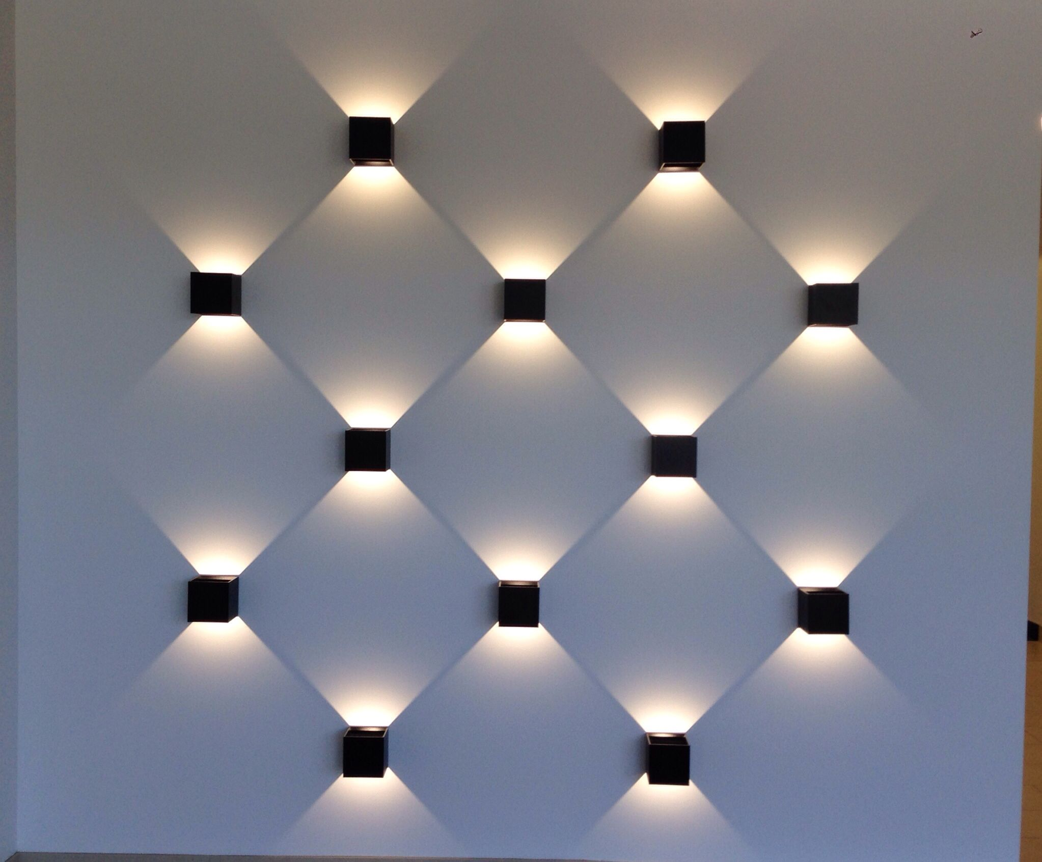 Led Light Wall The Shadows Create The Multidimensional Effect Would Look Great Indoors Or Out Wall Lighting Design Wall Lights Compound Wall Design