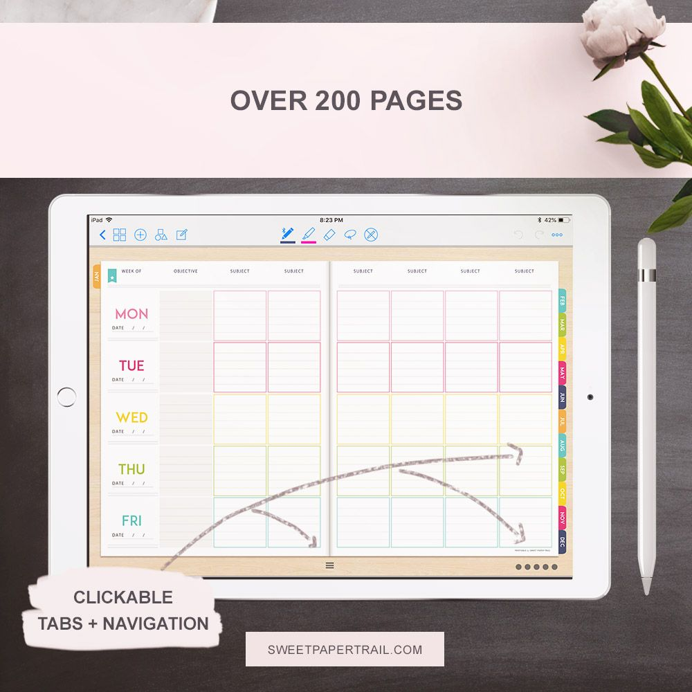2018 - 2019 GoodNotes Digital Teacher Planner For Ipad - Sweet Paper Trail
