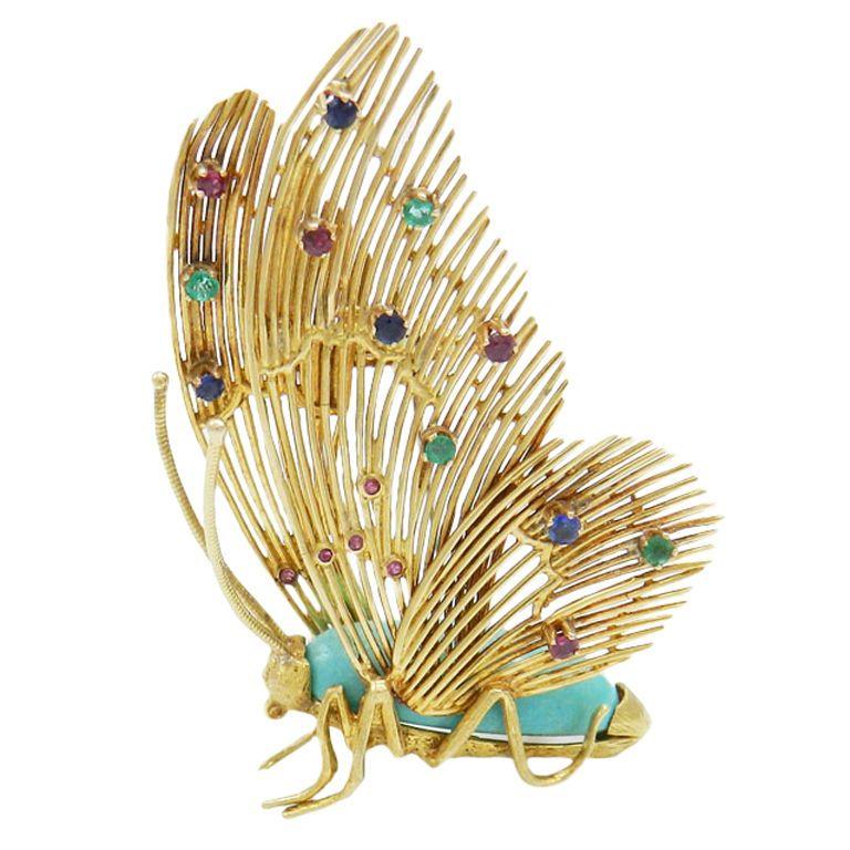 GARAVELLI Dimensional Gem Set Butterfly Brooch
