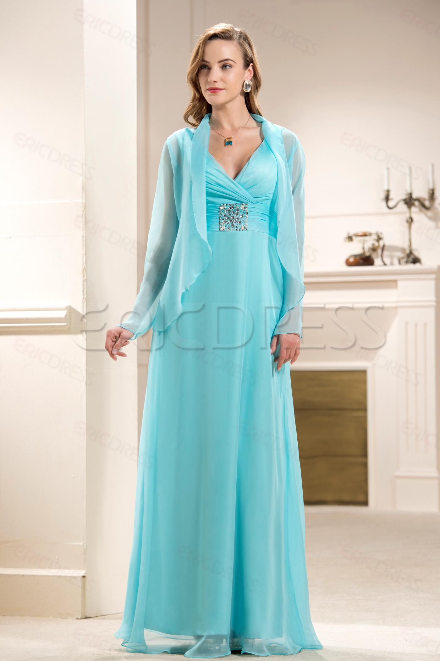 Attractive Beaded A Line V Neck Floor Length Empire Waistline Mother Of The Bride Dress With Jacket Shawl