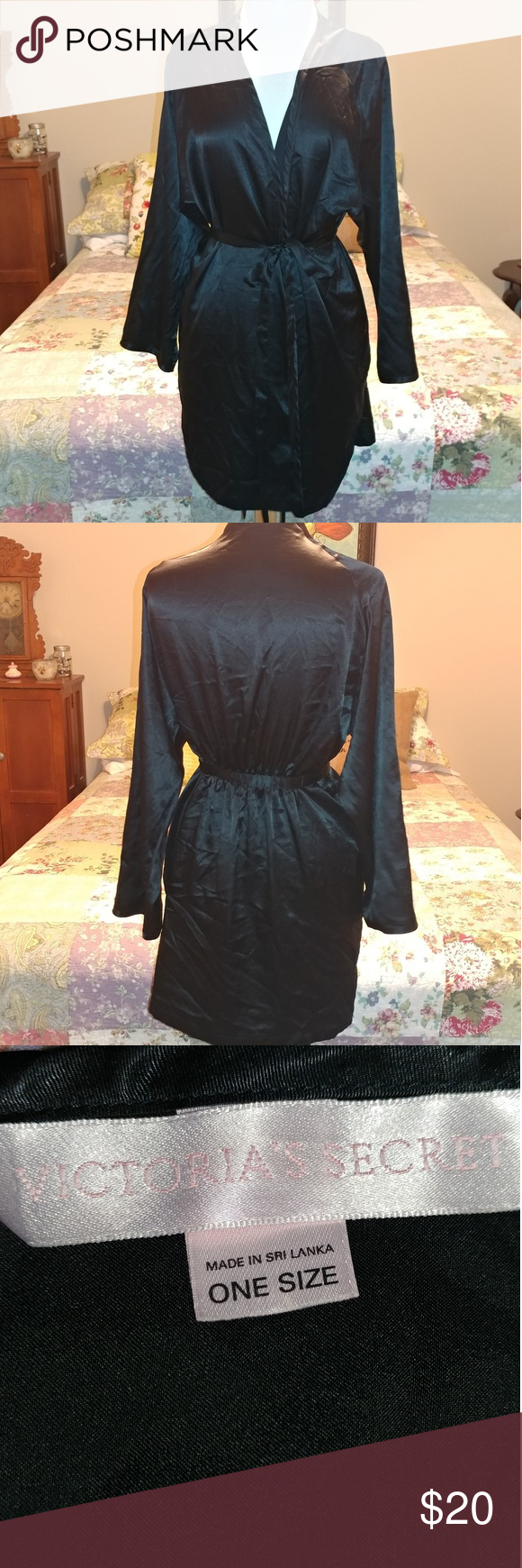 """Victoria's Secret robe From the 90s!  Black midi robe with pockets, interior tie and attached belt.  Measures approximately 33"""" long. Tag says one size, but this runs small and would fit a medium to maybe large, best.  Therefore, I am listing as a medium. Victoria's Secret Intimates & Sleepwear Robes"""