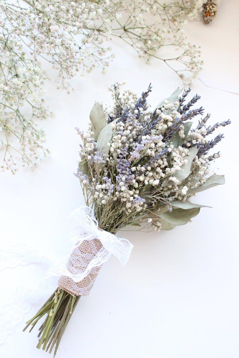 Lavender Bouquet Wedding Babies Breath Bouquet With Etsy In 2020 Lavender Bouquet Dried Flower Bouquet Babys Breath Bouquet