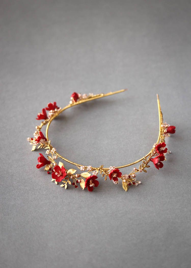 HARVEST | A ruby red, blush and gold wedding crown for the unique bride – TANIA MARAS | bespoke wedding headpieces + wedding veils