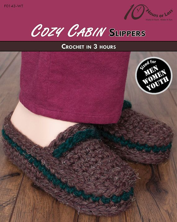 28dad6016176 COZY CABIN Youth   Adult Crochet Slippers Pattern  Digital File Download