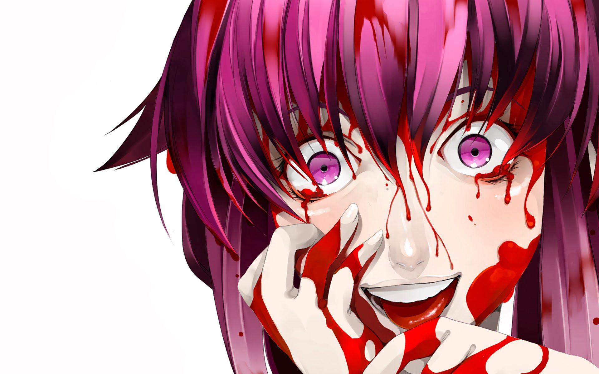 Anime Future Girl yuno gasai yandere future diary blood