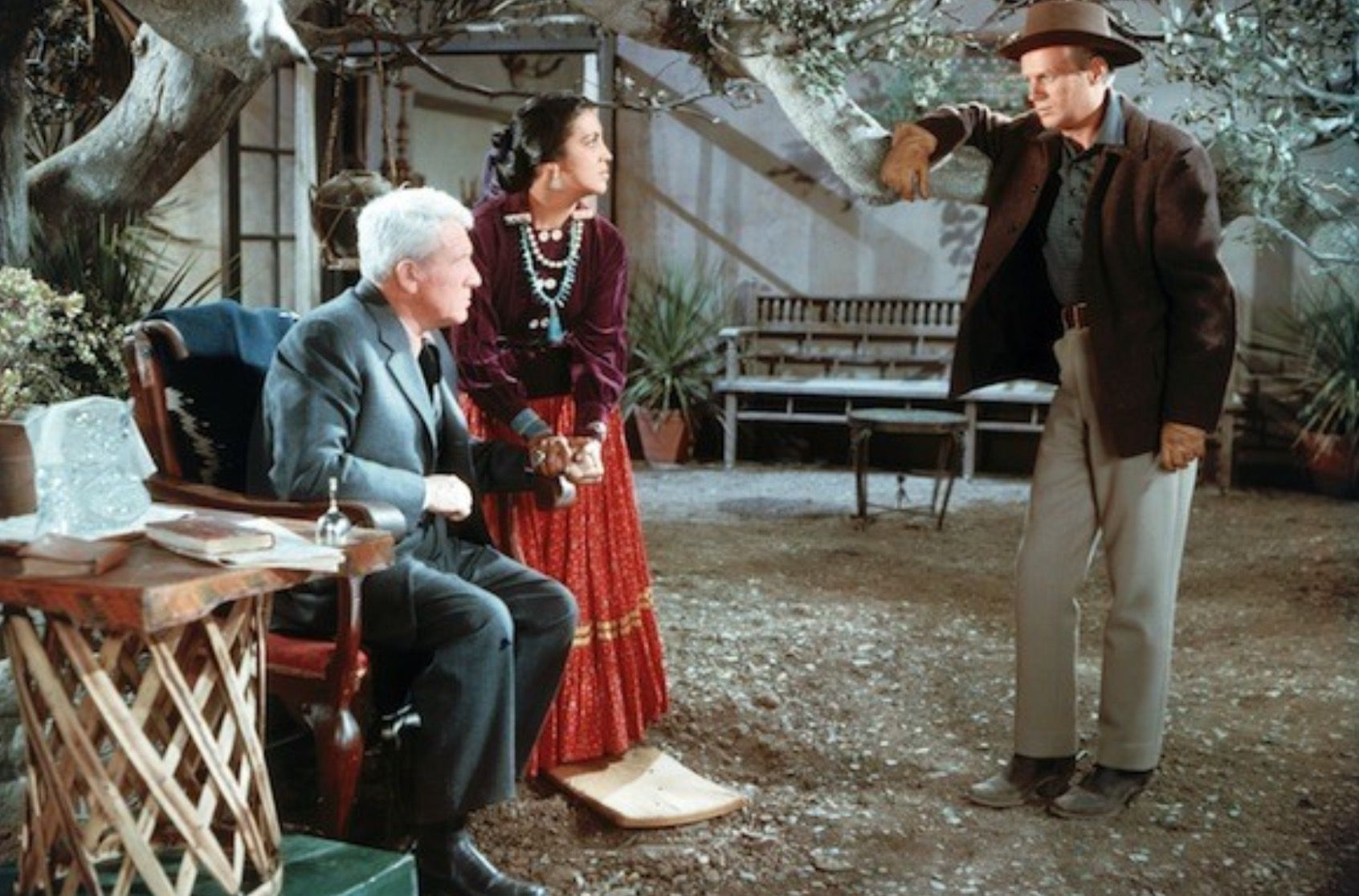 a84d7c1ad0e9 Spencer Tracy and Katy Jurado Hash it out with Widmark in BROKEN LANCE  (1954)