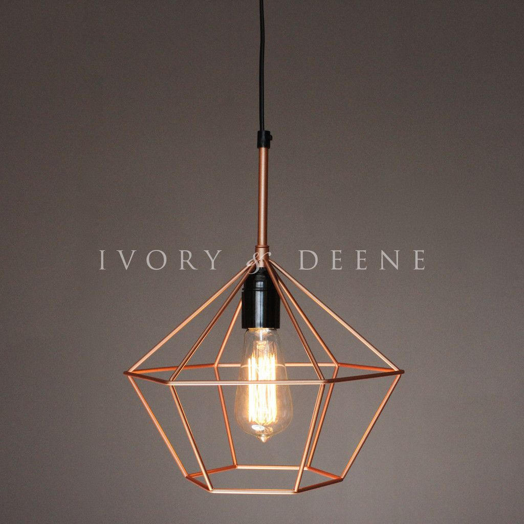 Copper diamond cage wire light pendant our home sweet home