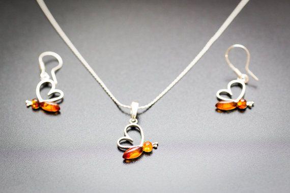 Cute Amber Jewellery Set Amber Earrings Pendant by BalticBeauty925