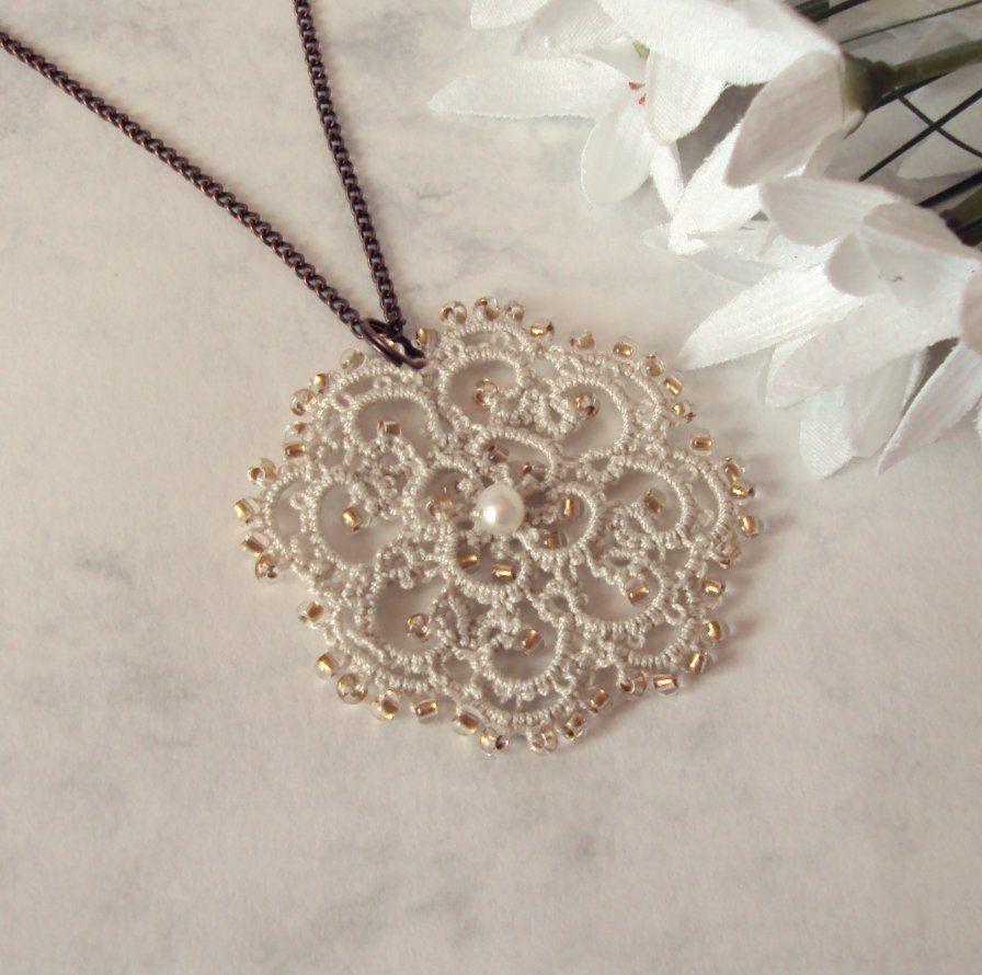 Victorian Inspired Lace Pendant in Tatting - Rosetta. $25.00, via Etsy.