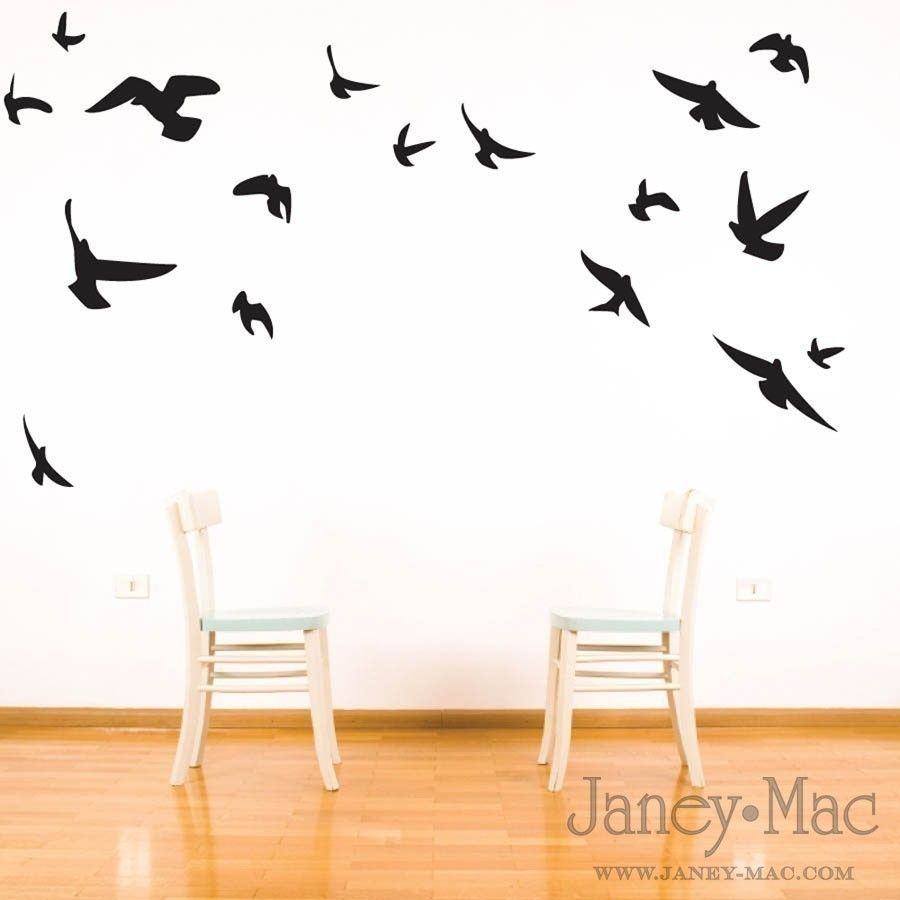 Bird wall decal flying birds vinyl wall art room decor for Kitchen colors with white cabinets with flying swallows wall art