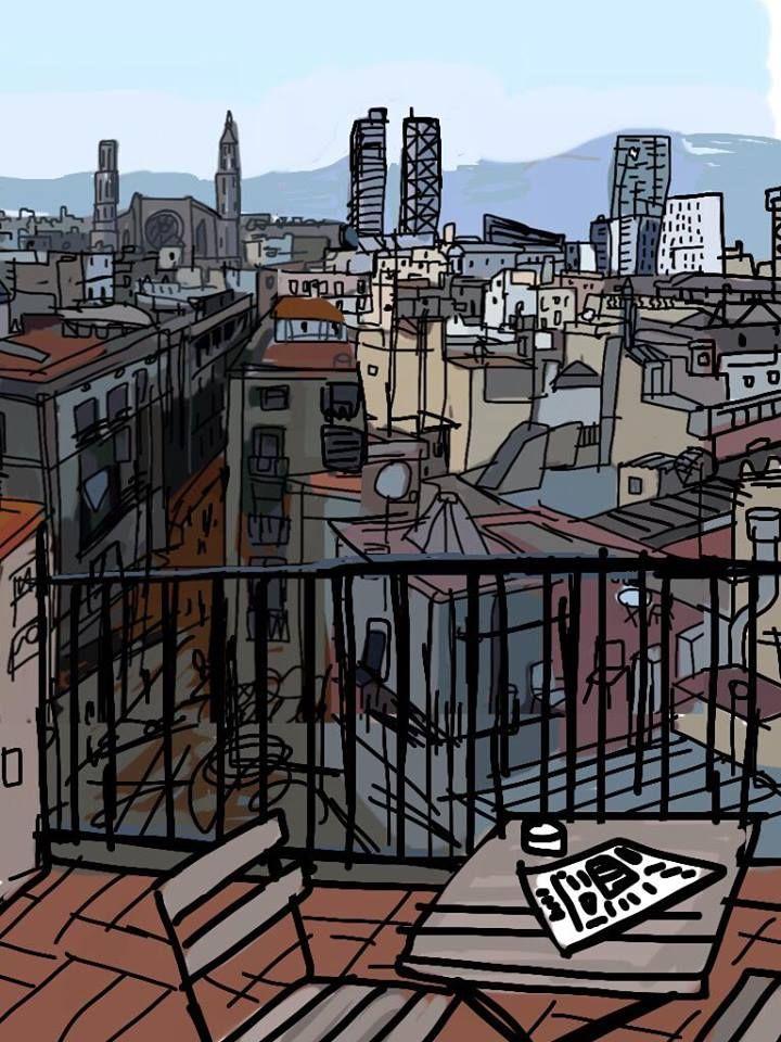 Terraza Con Vistas City Drawing Urban Sketching Drawings Photography