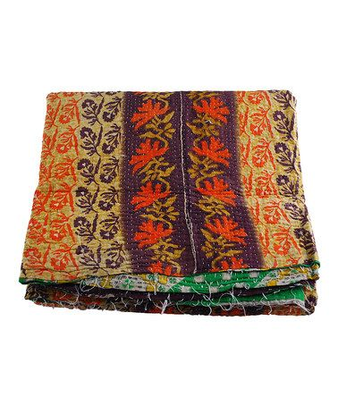 Take a look at this Orange & Brown Kantha Sari Throw by Modelli Creations on #zulily today!