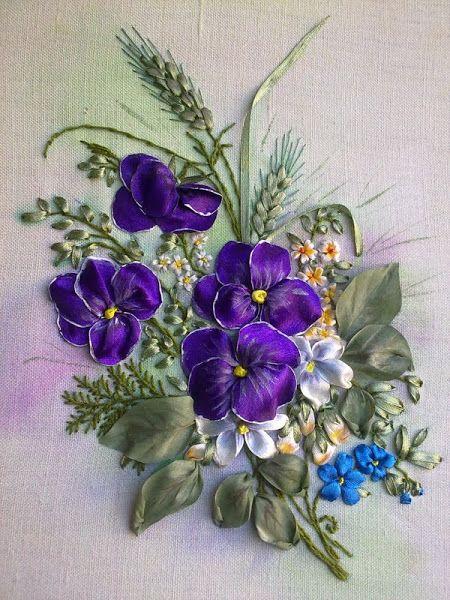 Ribbon embroidery needlework pinterest art