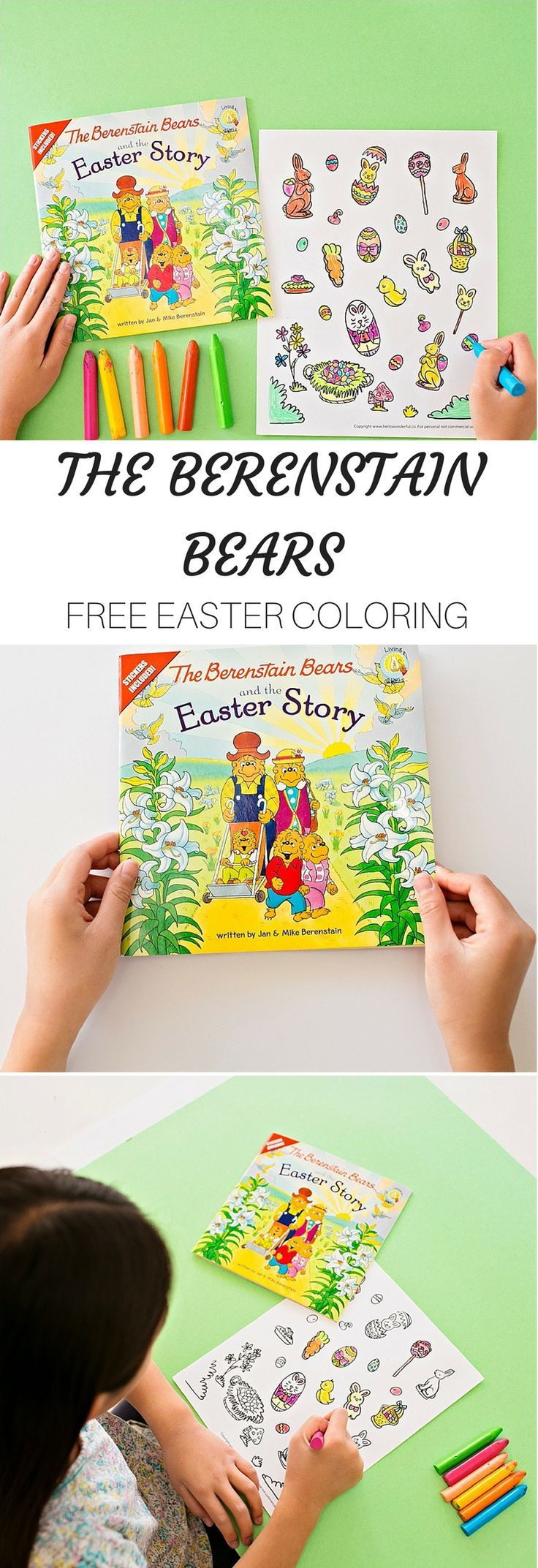 THE BERENSTAIN BEARS EASTER STORY COLORING SHEET | Easter coloring ...