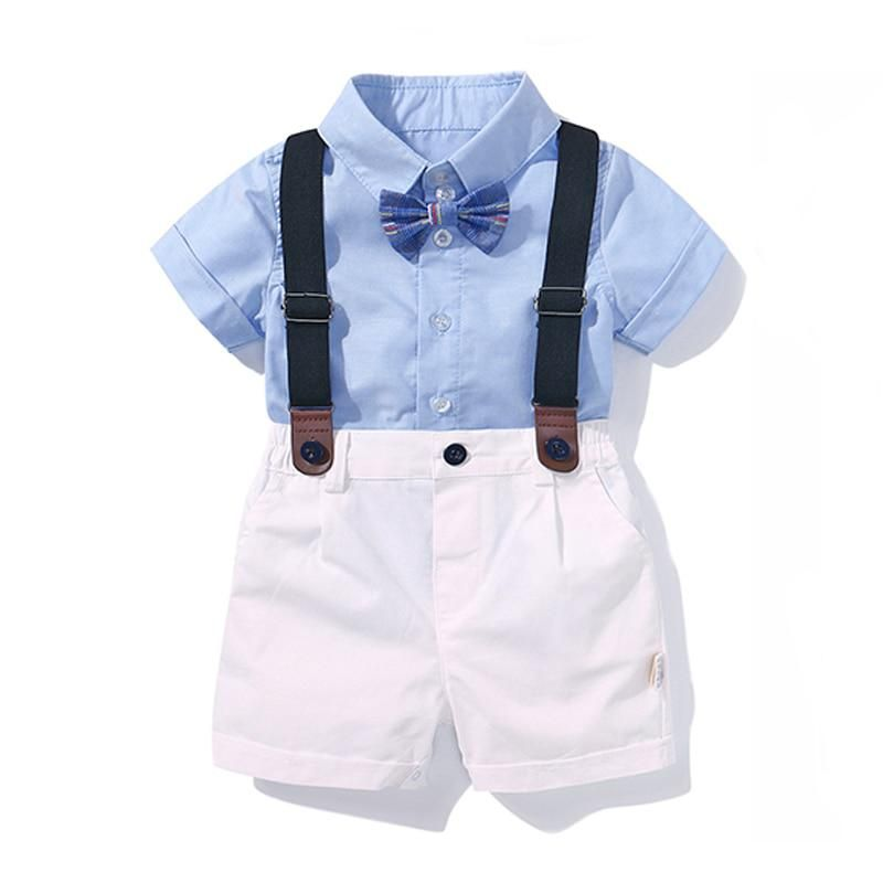 Toddler Baby Boy Tops Suspender Pants Outfits Formal Suit Costume For Birthday
