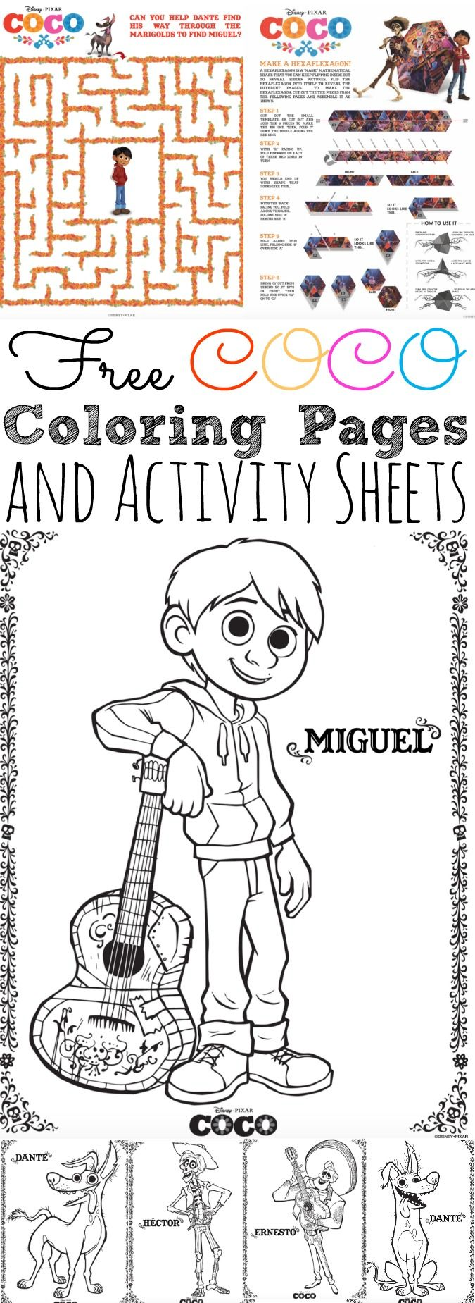 free disney pixar coco coloring pages and activity sheets get excited about disney pixar newest