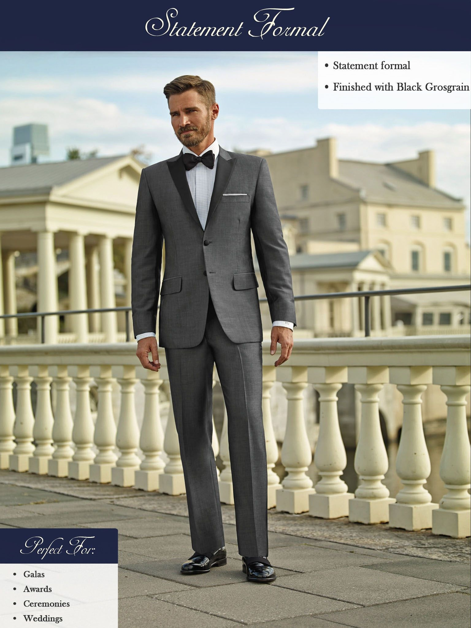 Gray sharkskin tuxedo proves it's worth for a summer event or wedding.