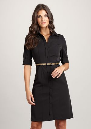 Very classy black shirt dress...this will look good forever