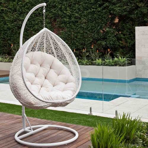 Bon Hanging Egg Chair   Outdoor Rattan Wicker   White 25% OFF | $299.00   Milan  Direct