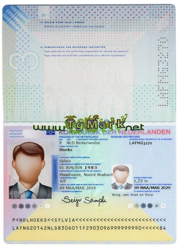 Netherlands Passport Blank Template High Quality Template Scan Effect Multiple Backgrounds Hologram Passport I Passport Passport Template Templates