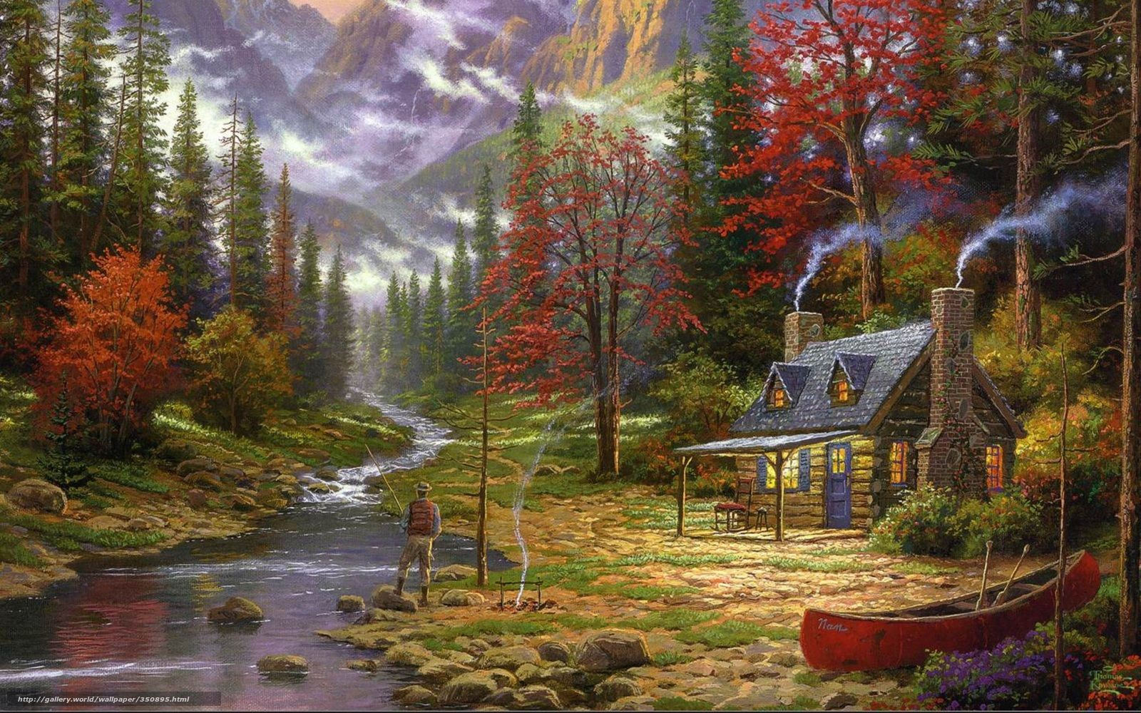 Download wallpaper painting, Thomas Kinkade, Mountains, river free desktop wallpaper in the resolution 2560x1600 — picture №350895