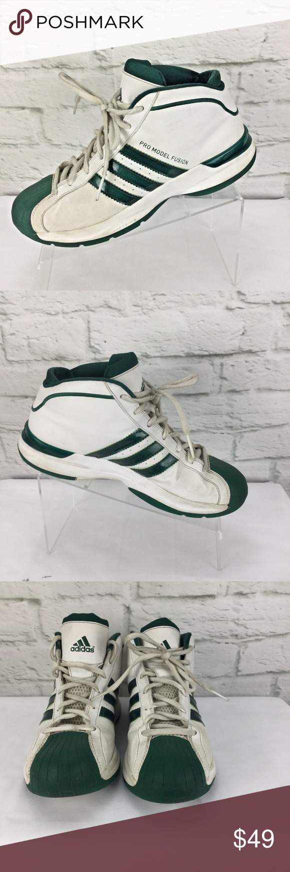 98ebf6d595e Classic 2004 Adidas Pro Model Fusion Mens 8.5 M Classic 2004 Adidas Pro  Model Fusion Mens 8.5 M Shoes White Green As pre-owned