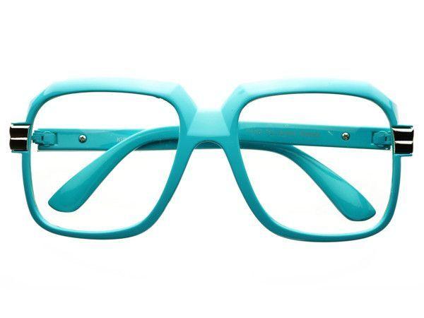 Clear Lens Run DMC Retro Square Glasses Blue A584