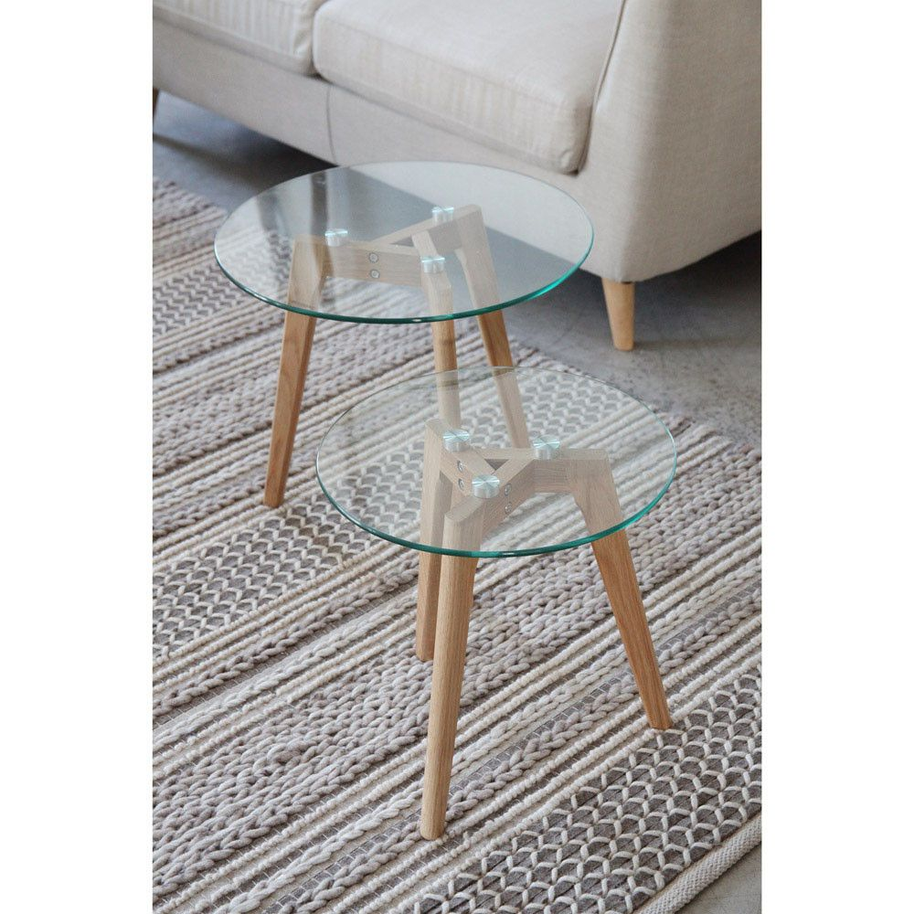 mesa auxiliar cristal estructura roble 40x40cm - Mesas auxiliares ...