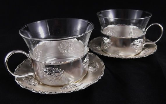 Vintage Silver Plate Teacups And Saucers W By Susiesellsvintage 19 50 Tea Cups Vintage Glass Tea Cups Tea Cups