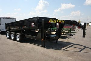 Big Tex Trailers 83 X 16 Triple Axle Low Profile Extra Wide Dump Trailer With Combo Gate And 7 Slide In Ramps Model Dump Trailers Big Tex Trailer Trailer