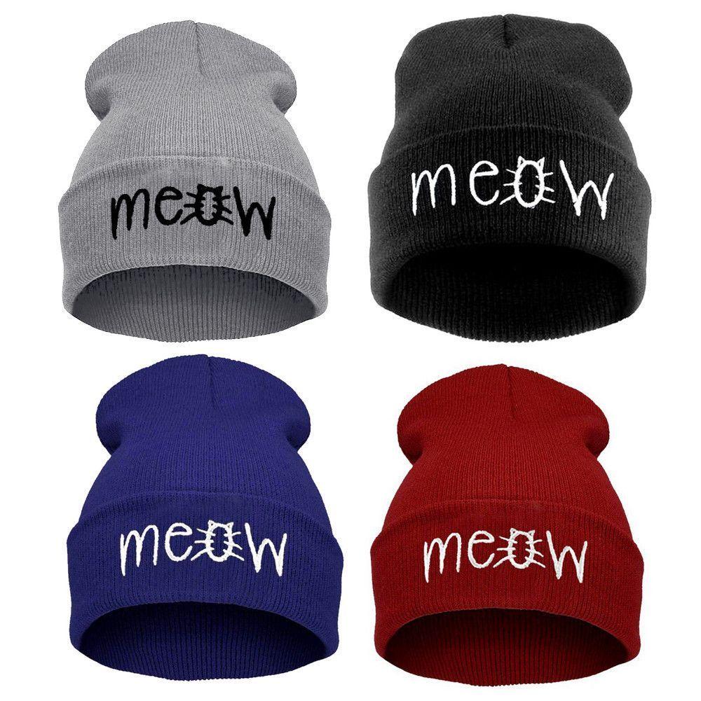 MEOW Cap Men Casual Hip-Hop Hats Knitted Wool Skullies Beanie Hat Warm Winter  Hat for Women Drop 0b6e78fb373