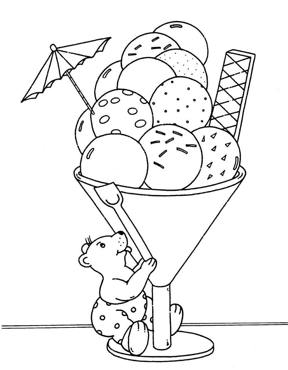 Ausmalbild Urlaub und Reisen: Riesiger Eisbecher kostenlos