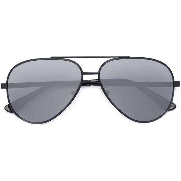 Saint Laurent Aviator Sunglasses (1.365 BRL) ❤ liked on Polyvore featuring accessories, eyewear, sunglasses, gift guide, jet, kirna zabete, ready, set, metal glasses and yves saint laurent eyewear