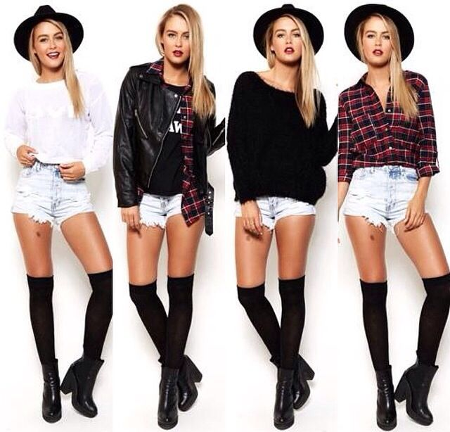 214649498d0 4 cool ways to wear over knee socks and denim shorts: white shirt, leather  jacket and denim shirt