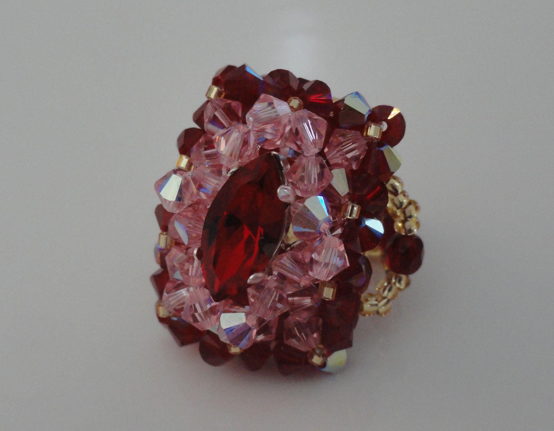 Bague rectangulaire Alizée rouge bordeaux et rose en perles de ...