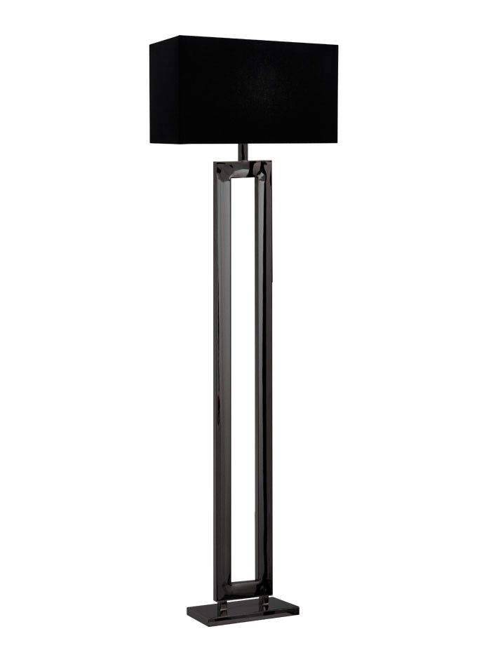 Marriot Vloerlamp Zwart Chroom Zwarte Kap Webshop Vloerlamp Lampen Staande Lampen