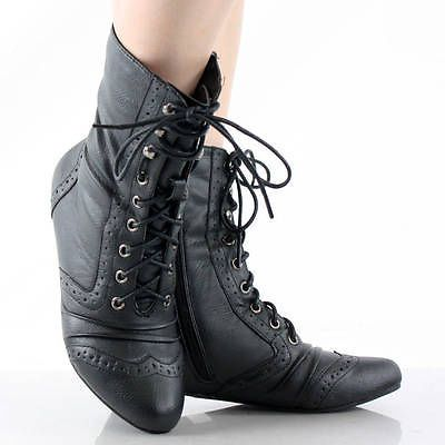 3a3f8a9f658c Black Victorian Steampunk Lace Up Oxford Vtg Style Womens Flat Ankle Boots 8