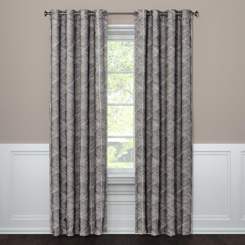 108 X50 Modern Stroke Grommet Top Blackout Window Curtain Panel